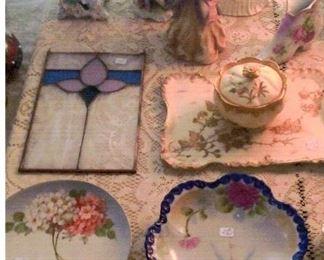 lady figurines, powder box & tray & hand painted plates