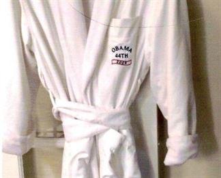 "Nice terrycloth bathrobe marked ""Obama 44th 2009"" on pocket."