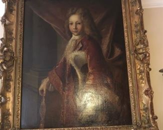 18TH OR 19TH CENTURY LARGE OIL PAINTING ON CANVAS IN ORIGINAL ROCOCO ORNATE FRAME - YOUNG ROYAL PRINCE PORTRAIT