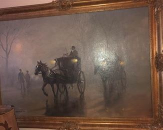 CANVAS  OF 19TH CENTURY HORSE DRAWN STAGE COACHES WITH NIGHT OIL LIGHTED OIL LAMPS - NO DAMAGE AND IN EXCELLENT CONDITION
