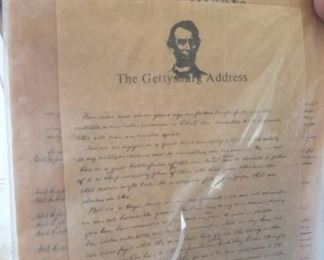 Parchment Reproductions of Constitution and Gettysburg Address