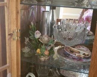 Crystal Bowls, Plates, Decorative Plates, Handblown Glass Purse Basket, Vintage Capodimonte, and Porcelain Figurines