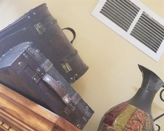 Leather look decorative vases, decorative metal pitcher