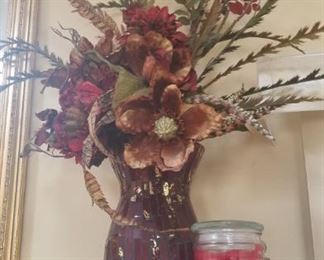 Beautiful Red Mosaic Glass Vases with Designer Floral Arrangements