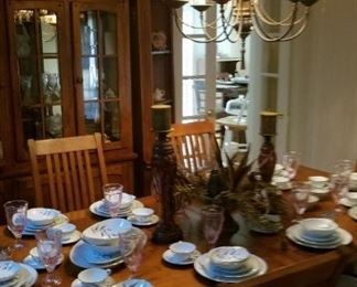 Noritake China SOLD, Beautiful Solid Wood Table with 6 chairs and 2 Leaves still Available!