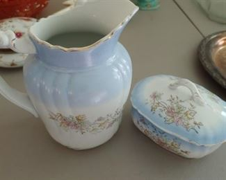 Old Ironstone Pitcher and Covered Dish(Johnson Brothers)