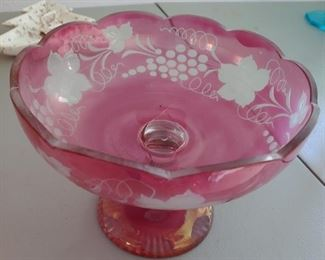 Cranberry Glass Footed Bowl