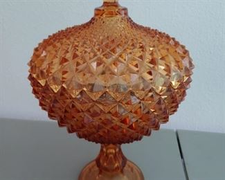 Amber Glass Covered Compote