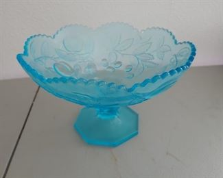 Blue Carnival Glass Footed Bowl