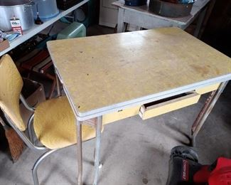 Vintage Formica Table with Two Chairs