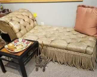 Antique leather chaise with storage