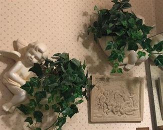 Ceramic cherub planters