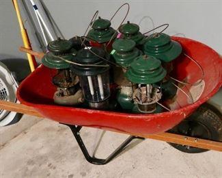 Vintage Lanterns and Nice Wheelbarrow