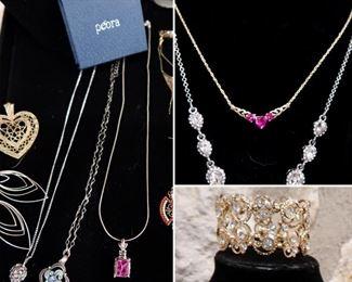 Peoria .925 Italy Necklace - 10k & Ruby Necklace - Rhinestone Bracelet