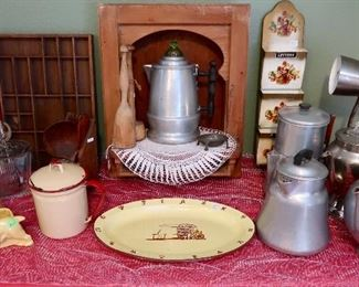 Nice old Telephone Box, Enamelware  and other Vintage Collectibles