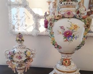 Dresden porcelain, and corner of Murano mirror