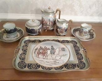 Dessert set featuring winter Napoleonic War scenes. Tray, two cups and saucers,cake plate,  pot and creamer and sugar.