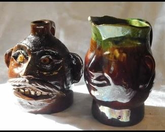 Two nearly life-size Ceramic Head Jug and Pitcher Vessels.