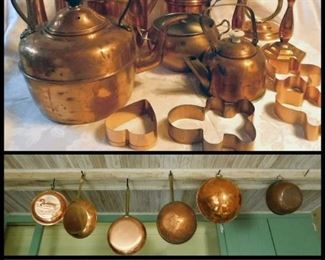 Copper Teapots, Pans, Cookie Cutters, Graters, Candle Sticks and more.