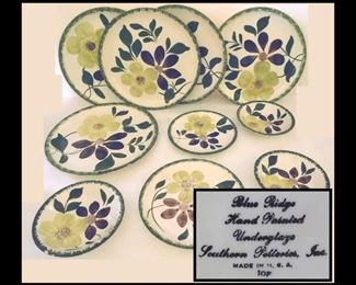 Hand Painted Plates from Southern Potteries, Inc. in the Greenbriar Pattern.