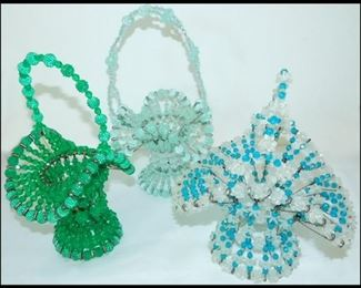 bern 3 Large Hand Crafted Bead Baskets.