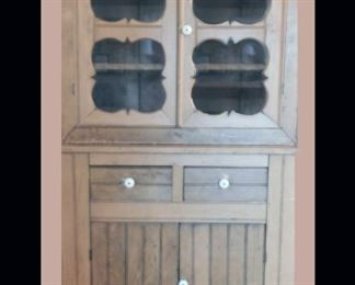 """Primitive Pine Cabinet with Glass Windows measures approximately 71"""" x 13"""" x 35""""."""