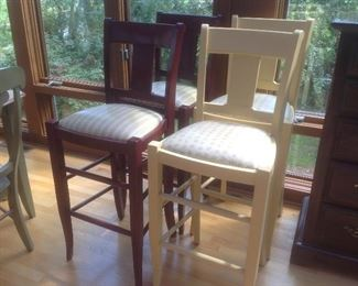 Five bar stools available...same chair with different seat covers and wood stain.