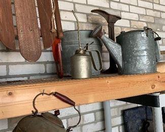 galvanized buckets, copper pots, shoe forms, etc
