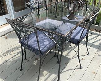 Glass top outdoor patio set