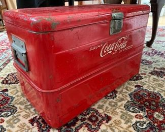 Vintage coca-cola cooler, galvanized interior