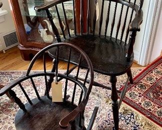 Windsor-style chair and child's rocker