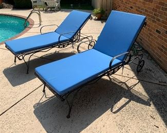 Relax by the pool or with a book in these cozy and practical wrought iron recliners