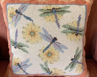 Be the Change with Unique Needlepoint Point Dragonfly pillow