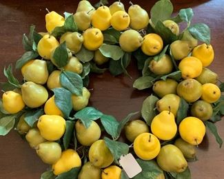 Lemon and Pear Wreath for any door, wall, or looks beautiful on its own as a centerpiece