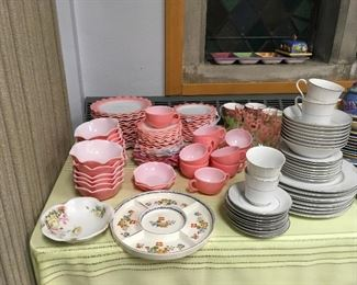 Vintage sets of dishes. Hazel Atlas Pink Crinoline Ruffle