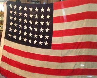 48 Star Flag with Quarter Master Marines stamped on back.