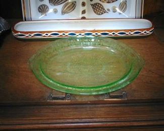Green depression glass serving plate