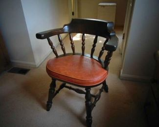 Sturdy painted arm chair with padded seat