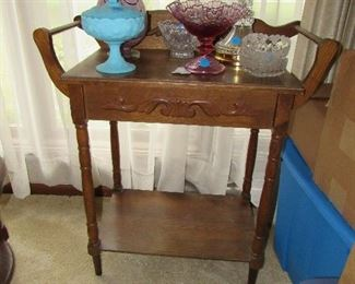 antique wash stand and vintage glassware