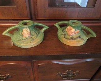 Roseville candleholders