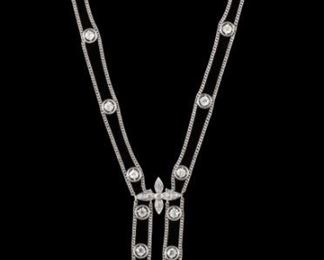 3 Carat Diamond & Platinum Art Deco Design Swag Necklace. Double chain is spaced evenly with twenty round frames each set with an old European or old mine cut diamond. These twenty diamonds have an approximate total weight of 2.25 cts. and vary in clarity with VVS to SI grades. Additionally, it is bead set with thirty nine more old European cut diamonds (a few are old mine). These have an approximate total weight of 1.00 cts. and also vary slightly in clarity. The necklace is approximately 15 inches long. It weighs 14.82 grams. Payment must be made by cash, check, certified check, money order, or wire transfer. Non-US purchasers must make payment by wire transfer.