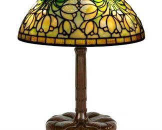 "Tiffany Studios, New York, ""Crocus"" Table Lamp. Leaded glass & greenish-brown patinaed bronze. Shade impressed TIFFANY STUDIOS NEW YORK. Base signed TIFFANY STUDIOS NEW YORK 357 & special order stamped S171."
