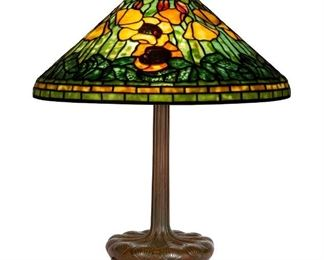 "Tiffany Studios, New York, ""Poppy"" Table Lamp. Leaded glass & patinaed bronze. Shade impressed TIFFANY STUDIOS NEW YORK 1531-12. Base impressed TIFFANY STUDIOS NEW YORK 395 S198."