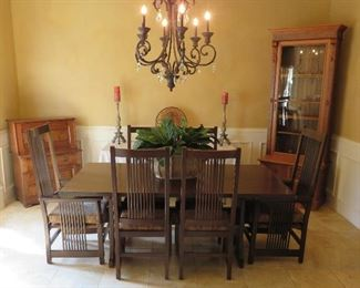 Stickley dining table and chairs
