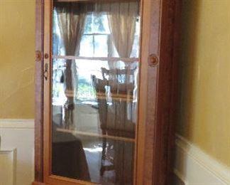 Victorian burl wood china/curio cabinet