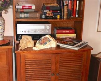 Wood Hutch and Cabinet with Books, Decorative Items and more