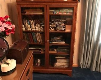 Antique book case with glass doors