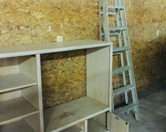 Wood cabinet & ladder
