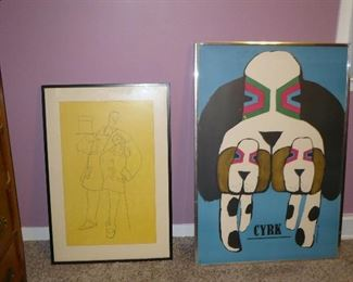 W.C. Fields Signed Litho on the Left