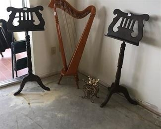 Music stands and lever harp